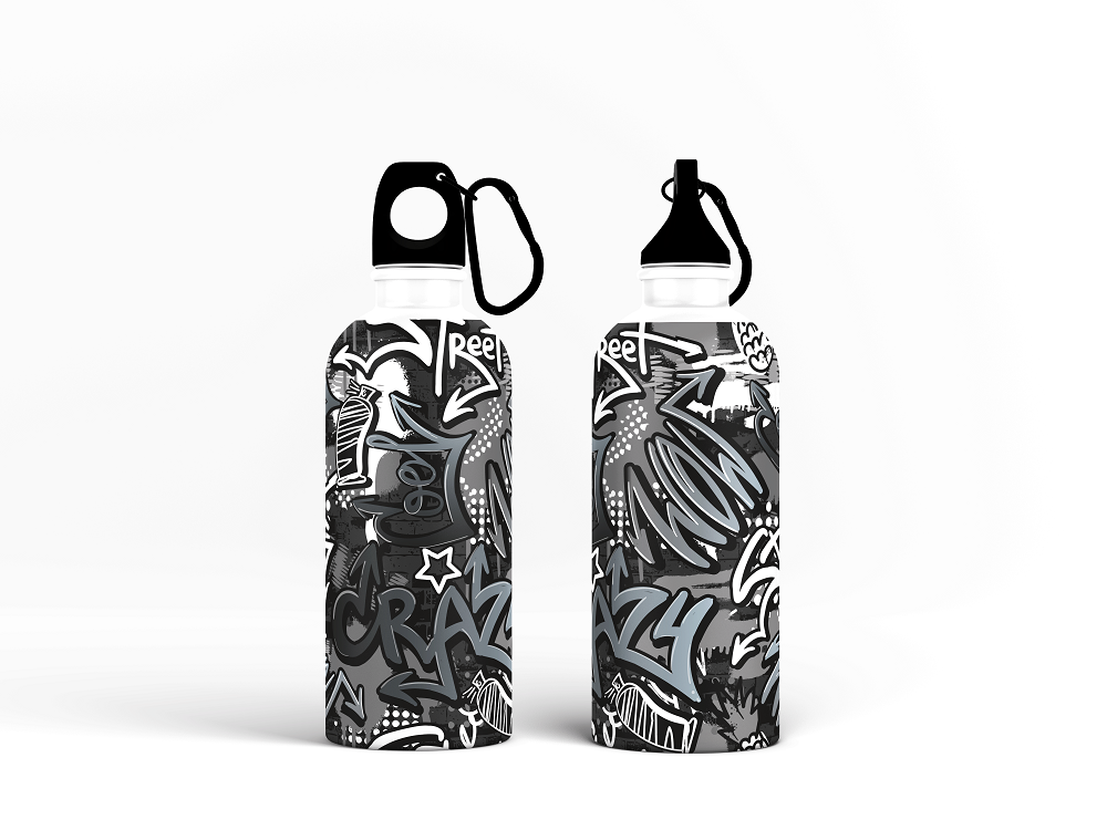 Sipper Bottle - Monochrome Doodle Graffiti Drop Seamless