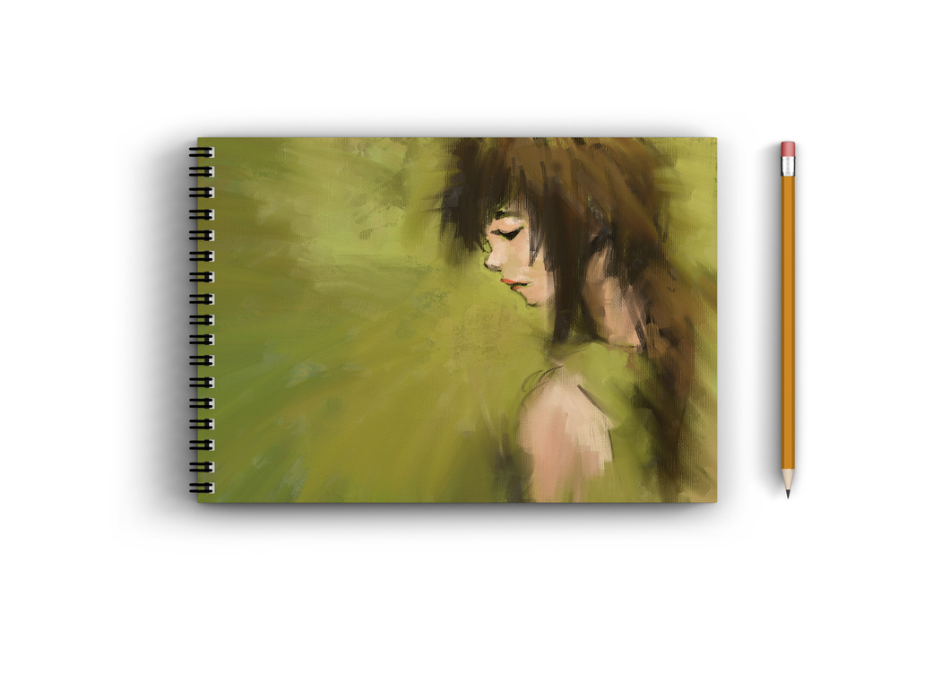 A3 Sketchbook - Green Oil Pastel Art of a Woman