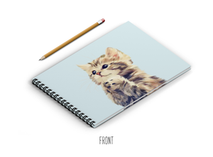 A4 Sketchbook - Cute Cat on Sky Blue Background
