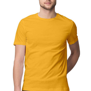 Plain Golden Yellow Round Neck Men's T-Shirt
