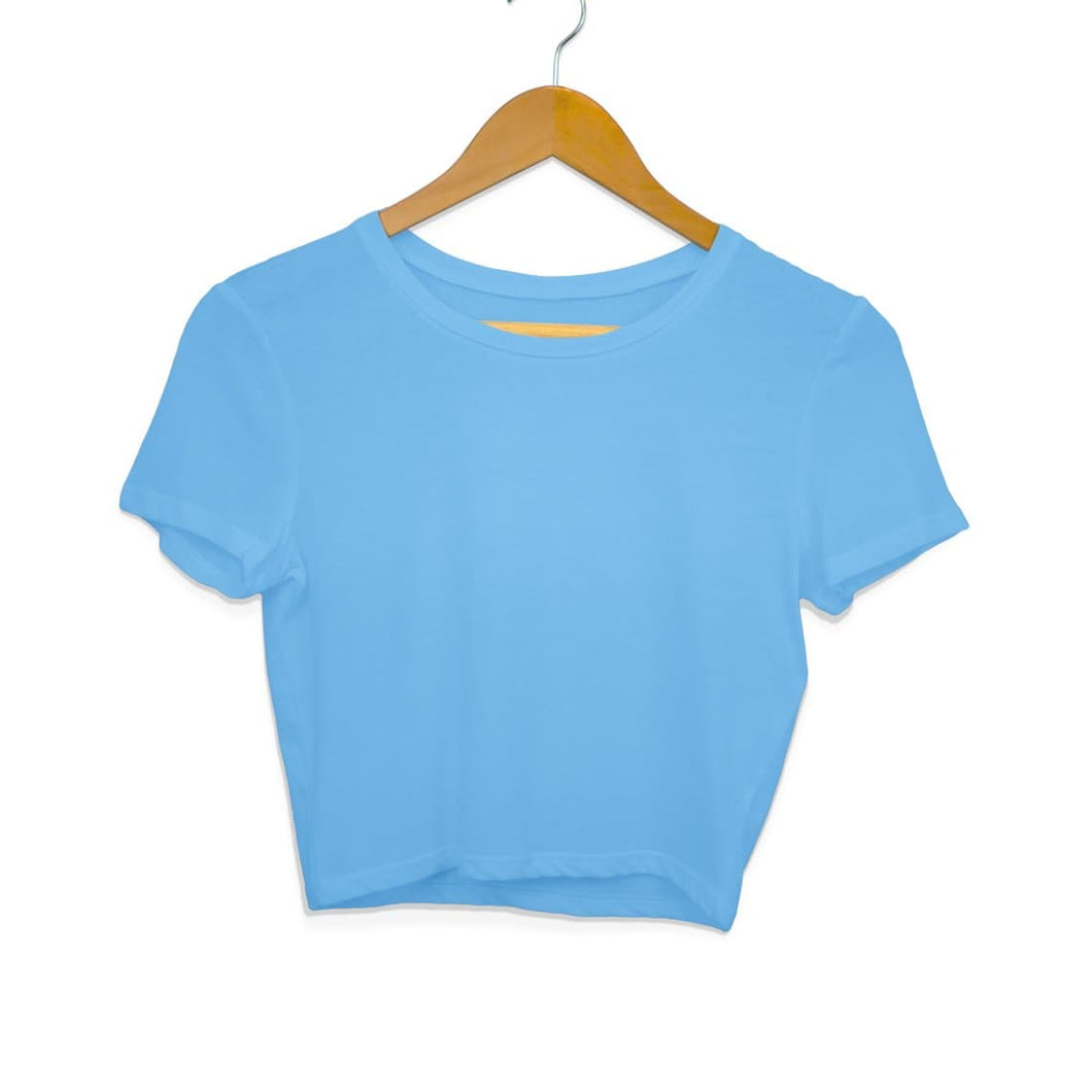 Plain Sky Blue Women's Crop Top