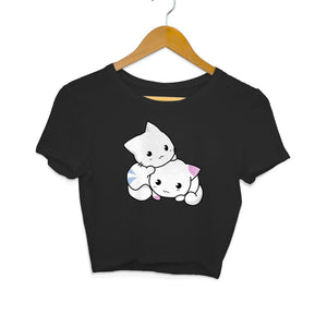 Black Kawaii Cats Crop Top