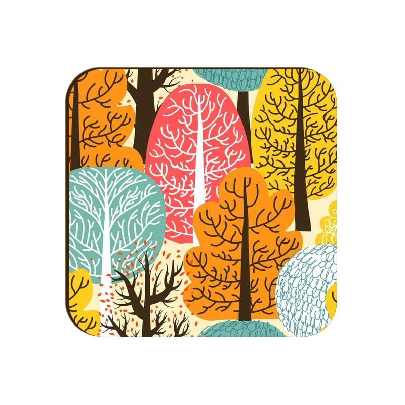 Square Coaster - Autumn Trees Pattern