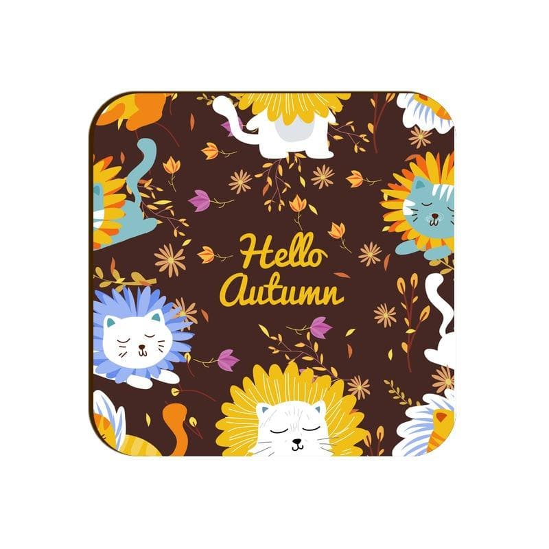 Square Coaster - Hello Autumn Cute Flowers