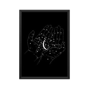 Moon in Hands Aesthetic - Wall Poster