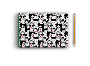 A3 Sketchbook - Black and White Girls Seamless Pattern