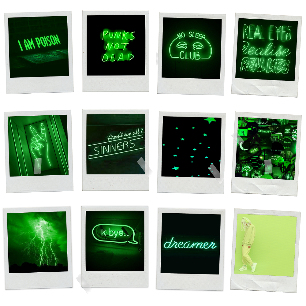 Neon Green Aesthetic Polaroids Pack of 12
