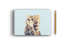 Load image into Gallery viewer, A4 Sketchbook - Cute Cat on Sky Blue Background