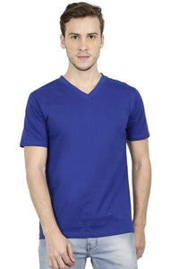 Plain Royal Blue V-Neck T-Shirt
