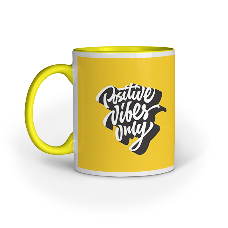 Positive Vibes Only - Yellow Inner Wall Mug