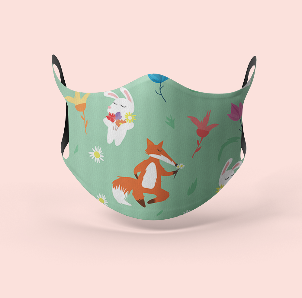 Seamless Bunny Designer Face Mask