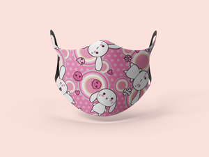 Pink Seamless Kawaii Designer Face Mask