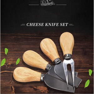 Wooden stainless cheese cutter set 4 piece