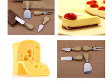 Load image into Gallery viewer, Wooden stainless cheese cutter set 4 piece