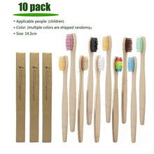 Load image into Gallery viewer, 10Pcs Toothbrush Eco-Friendly Rainbow Bamboo Soft Fibre Toothbrush Biodegradable Teeth Brush Solid Bamboo Handle Toothbrush