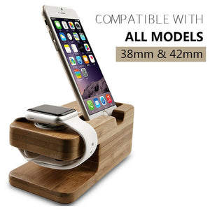 Wooden Charging Dock Station for Mobile Phone Charger Holder Smart Watch Desktop Charging Stand Bamboo Base Bracket