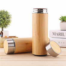 Load image into Gallery viewer, Stainless Steel Bamboo Thermos and Drink Bottle