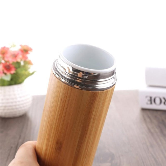 Stainless Steel Bamboo Thermos and Drink Bottle