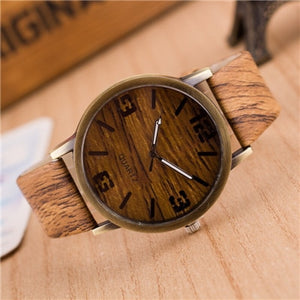 Woman's Wood Grain Leather Watch