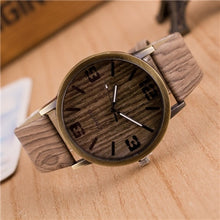 Load image into Gallery viewer, Woman's Wood Grain Leather Watch