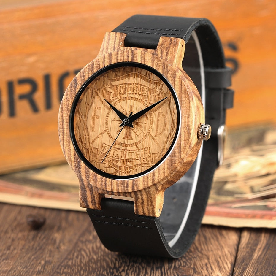 Fire Fighter Dial Wood Watch , sale ends soon