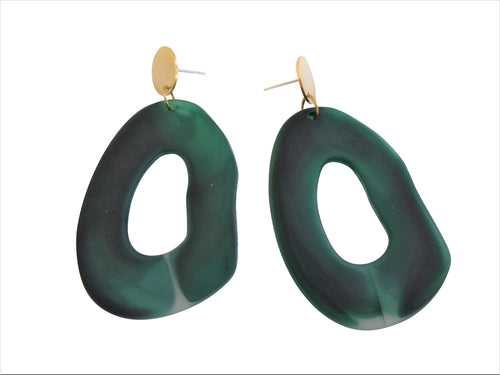green statement earrings