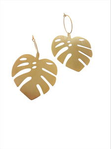 Monstera hoop earrings