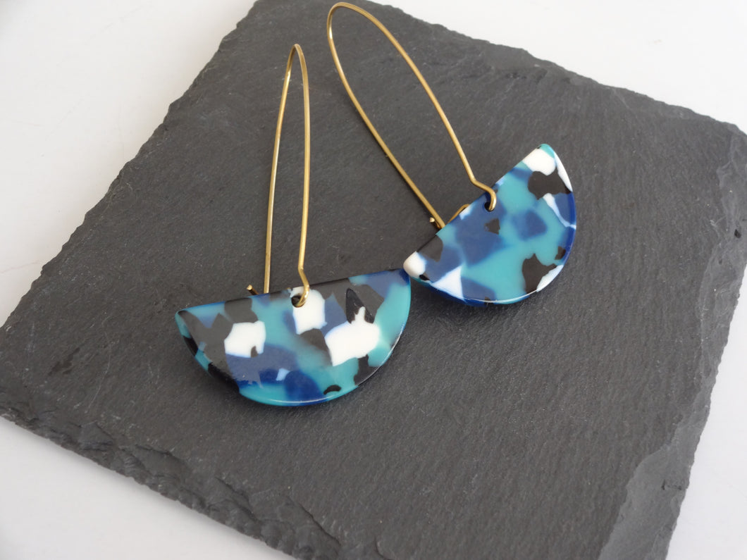 blue acrylic dangle earrings