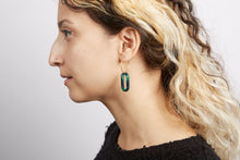 Load image into Gallery viewer, green hoop earrings