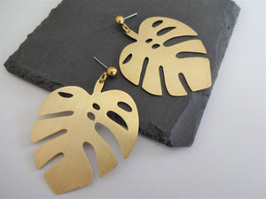 oversized monstera earrings
