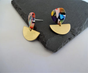 multicoloured stud earrings