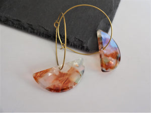 acetate acrylic red earrings