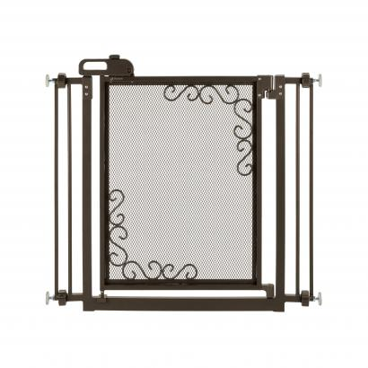One-Touch Metal Mesh Pet Gate Antique Bronze