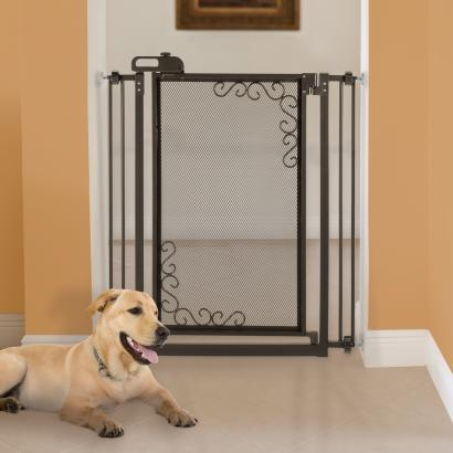 Tall One-Touch Metal Mesh Pet Gate Black