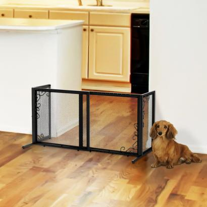 Freestanding Metal Mesh Pet Gate Small Black