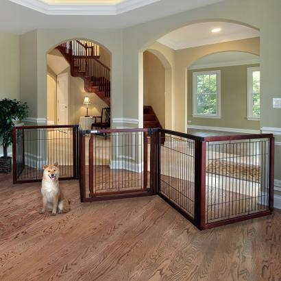 Convertible Elite Pet Gate 6-Panel 31.5″H – Cherry Brown