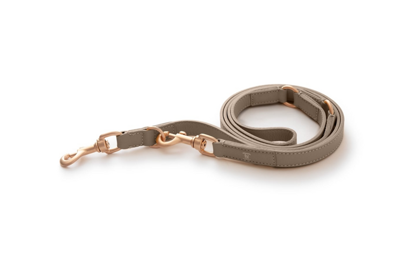 Lazy Taupe Mario CROSS-BODY Dog Leash Italian Leather