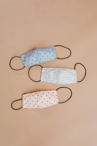 Mum's The Word Face Cover In Denim Polka Dots With Replaceable Filter