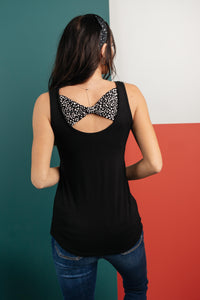 Back The Bow Up Black Tank