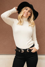 Load image into Gallery viewer, Button Sleeve Elegance Turtleneck Sweater In Ivory