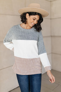 Cream Mix Ribbed Top