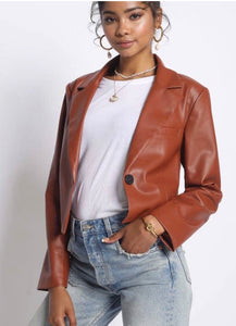 Cropped Blazer in Rust