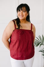 Load image into Gallery viewer, Eyelet You Know Camisole In Burgundy