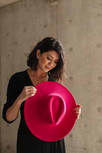 Felicity Flat Brim Hat In Hot Pink