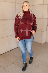 Grand Grid Print Sweater in Maroon