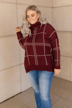 Load image into Gallery viewer, Grand Grid Print Sweater in Maroon