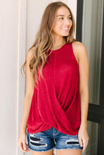 Load image into Gallery viewer, Knotted Hem Tank in Ruby Red
