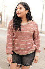 Load image into Gallery viewer, Ribbed and Striped Sweater in Mauve