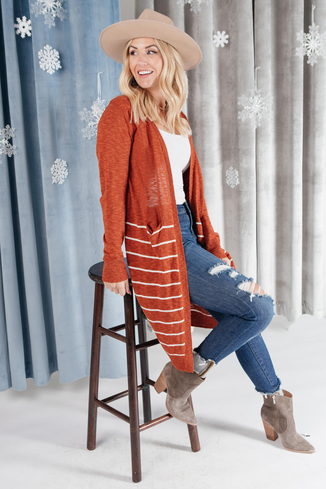 Stripes And Rust Cardigan