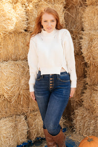 The Clara Turtle Neck Top in White